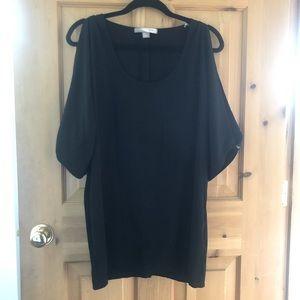 F21 Black Drape Open Arm Shift Dress